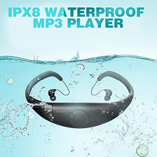 Tayogo Bluetooth 100% עמיד למים MP3 מוסיקה נגן אוזניות מתחת למים HIFI ספורט mp3 bluetooth עם FM Pedo מד לשחייה