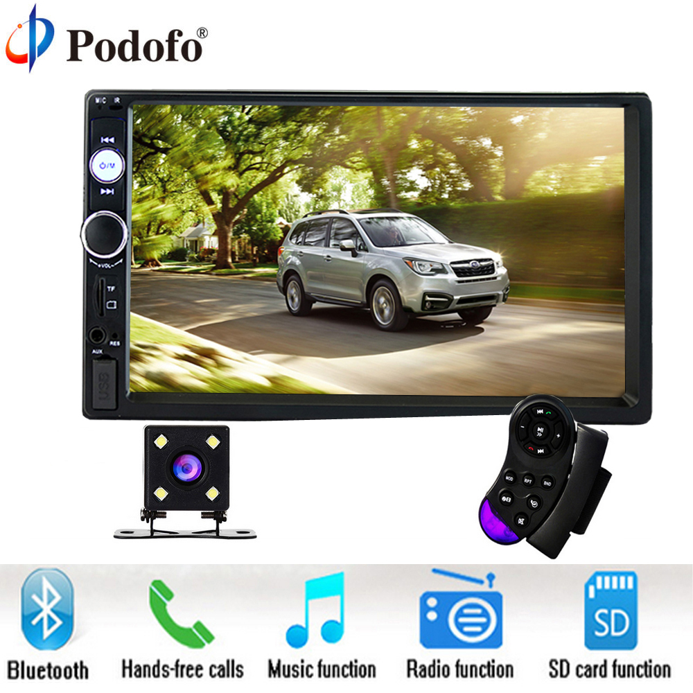 Podofo 7 дюймов Сенсорный экран 2 Дин Радио 2din в тире Авто Аудио плеер стерео Bluetooth USB SD MP5 сзади вид Камера Авто Радио