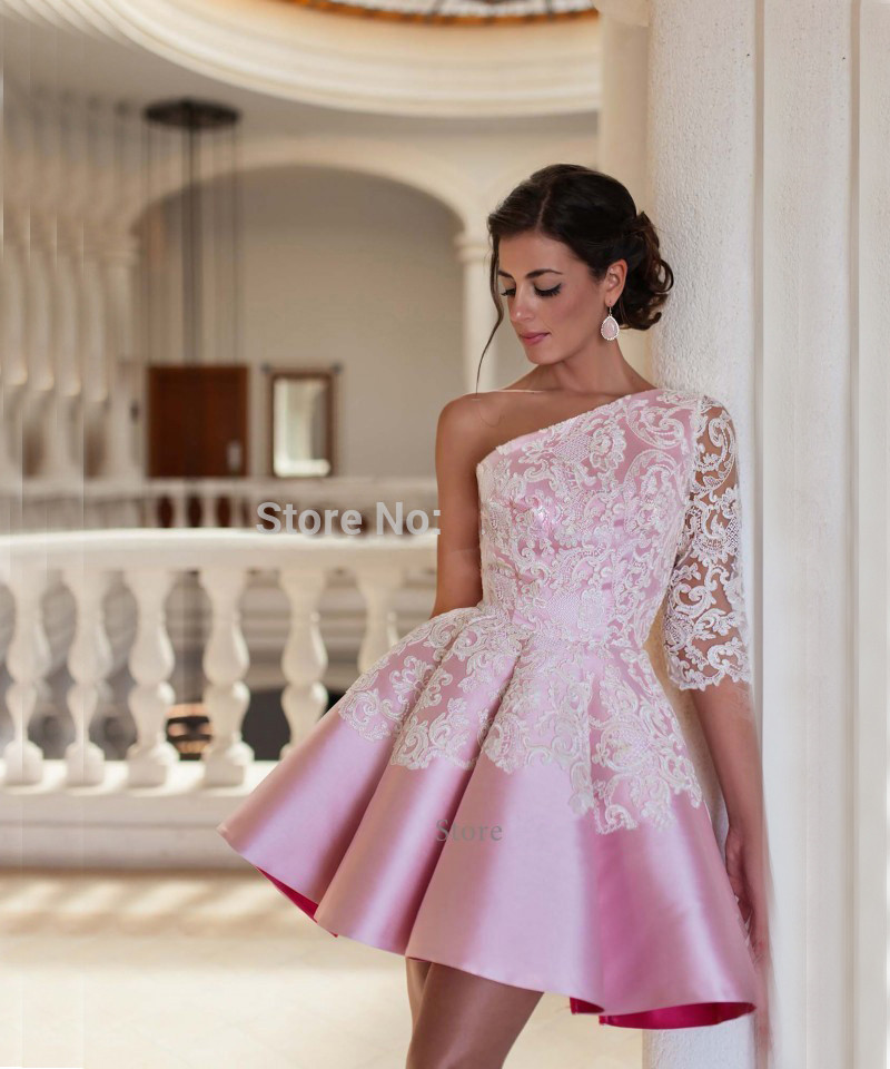Fashion Lovely Pink Short   Prom     Dress   2019 One Shoulder Lace Half Sleeve A Line Women Pageant Gown For Formal Evening Party