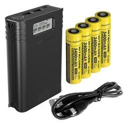 Оптовая продажа NITECORE F4 Flex Bank 2в1 наружное USB зарядное устройство + дорожный внешний аккумулятор с 4 перезаряжаемыми батареями 18650 + зарядный ка...