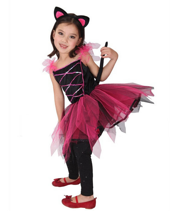 Cute Baby Girl Pretty Black Kitty Carnival Stage