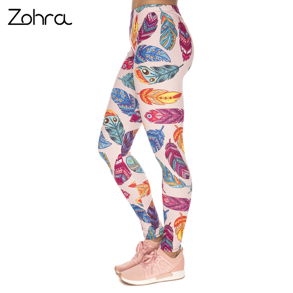 Zohra New Arrival Women Legins Feathers Vibes Printing Blue Sexy Slim   Legging   Woman High Waist   Leggings