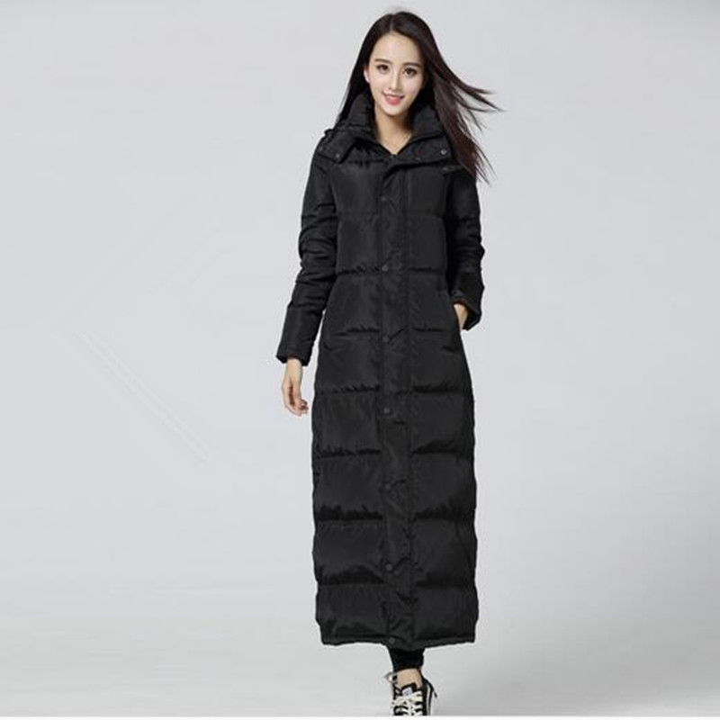 Winter Jacket Women Thicken Hooded Women's Down Jacket Black Down Parkas Manteau Femme Long Jacket Female Warm Maxi Parka C2729 bishe women winter down jacket warm long parka femme 2017 faux fur collar hooded cotton padded parkas female manteau femme 4xl