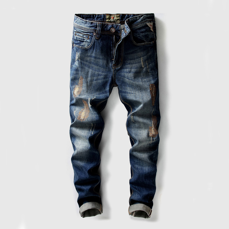 High Quality Slim Fit Classical Jeans Men Denim Pants 100% Cotton Patch Embroidery Pants Ripped Jeans Brand Designer Men's Jeans 2017 tide brand off white winter new men s wear striped rose embroidery denim pants men jeans jogger pants high quality