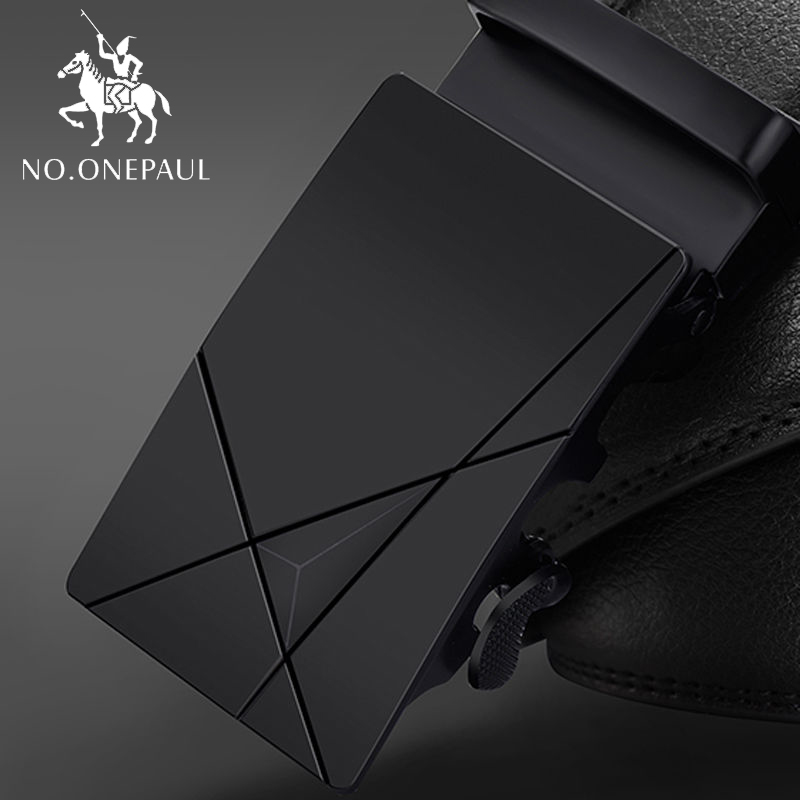 NO.ONEPAUL Automatic Buckle Black Belts Luxury Brand Male Genuine Leather Strap Belts For Men Top Quality Belt Cummerbunds