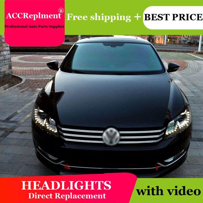 AUTO PRO 2011-2015 pour vw passat B7 phares bi xénon lentille passat B7 phares de voiture style U LED DRL H7 xénon parking
