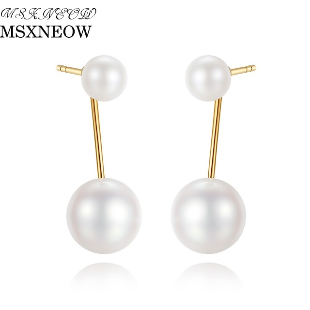 Msxneow 18k Gold Double Natural White Pearl Earrings 4 5mm 6 5 7mm