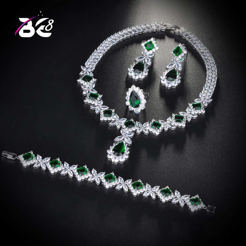 Be 8 Charm Green Cubic Zirconia Jewelry Sets for Women Bridal Wedding Sets 4 Pcs Earring Necklace Ring Bracelet Gift S162Be 8 Charm Green Cubic Zirconia Jewelry Sets for Women Bridal Wedding Sets 4 Pcs Earring Necklace Ring Bracelet Gift S162