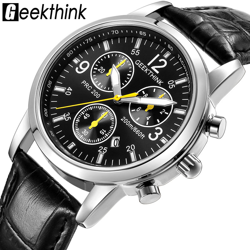 GEEKTHINK Casual Leather Strap Quartz Watches Men's Top brand fashion Wrist Watch clock male Steel Band New Classic Design new design fashion mens stainless steel band square business quartz analog wrist watches 5v8u 3y3fd