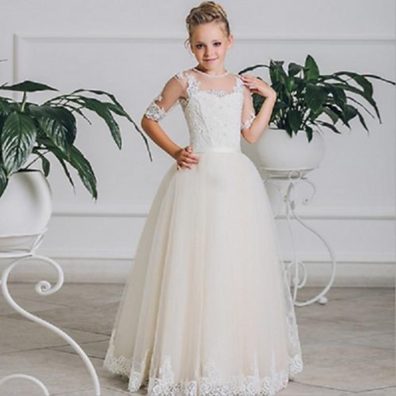 New Princess Flower Girls Dresses Pageant Holy Wedding Communion Gown Graduation