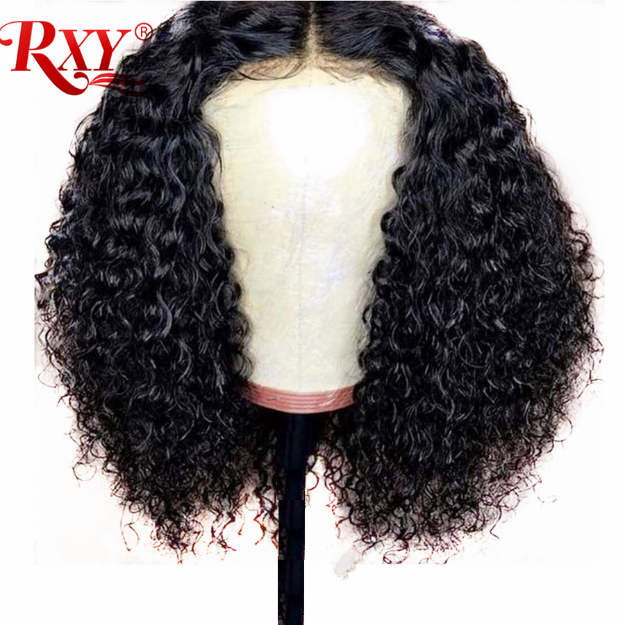 RXY Glueless Lace Frontal Human Hair Wigs For Black Women Brazilian T Part Wig Kinky Curly Wigs Pre Plucked With Baby Remy Hair