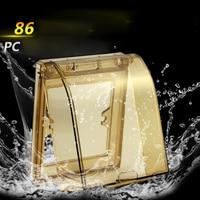 Electrical Socket Thick Waterproof Box 86 Type Waterproof Cover For Bathroom Brown