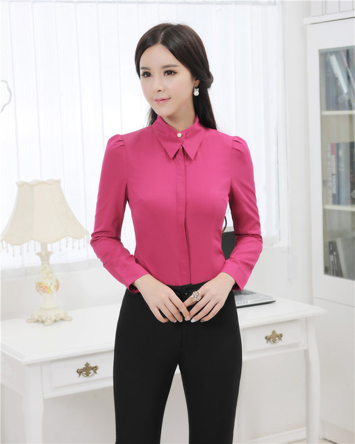 Novelty Rose 2015 Spring Autumn Formal Uniform Style Professional Business Suits With Blouse And Pants Pantsuits Trousers Set