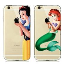Engraçado criativo Snow White Sereia Macio TPU Capa de Silicone para celular fundas iphone 5 5s se 6 6 s 7 tampa do telefone toque maçãs logotipo