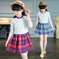Los niños Vestidos Para Niñas Ropa de Manga Larga A Cuadros Patchwork Vestidos de Las Muchachas 2017 Marca de Ropa de Los Cabritos 4 6 8 10 12 Años Vestidos