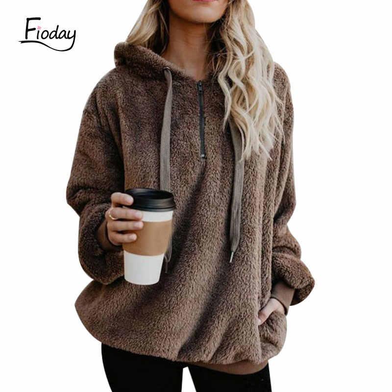 Fioday Neue Herbst Fuzzy Hoodie 2018 Winter Schwarz Warme Hoodies Mantel Frauen Mode Öffnen Stich Lange Hülse Jacke für Weibliche