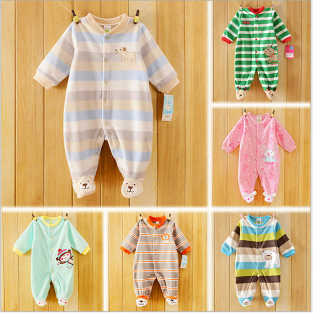 top quality antumn & winter baby bodysuits fleece children jumpsuit pajams long sleeve kids pajamas baby clothing