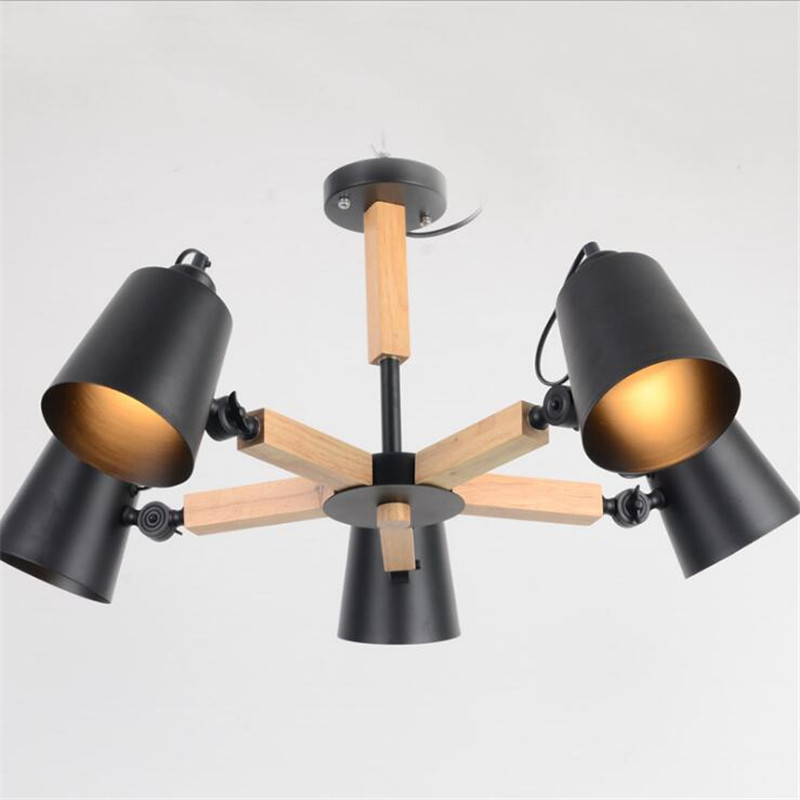 3/5/8 Head Modern Janpen Style Wooden Pendant Light Black / White Cover Dining Room Light Parlor / Cafe Light Free Shipping