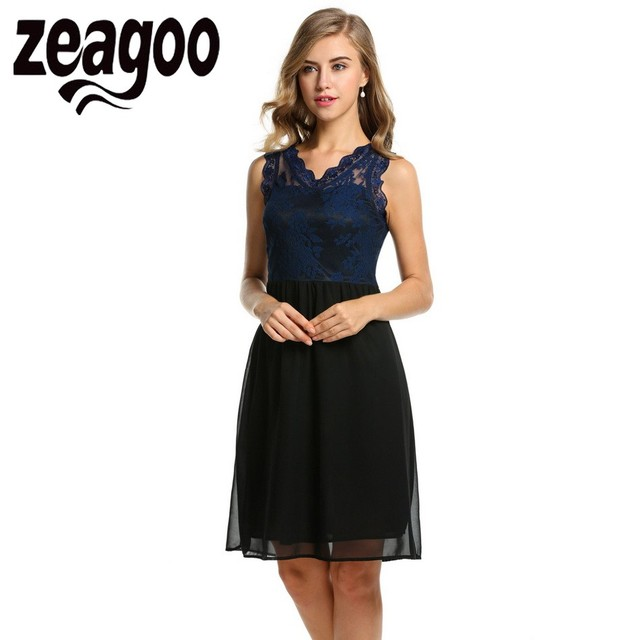 ab469131047 Zeagoo Women Chiffon Dress Sleeveless Slim Lace Cocktail Party Dress Tank  Patchwork Sheath Bodycon Summer Cute