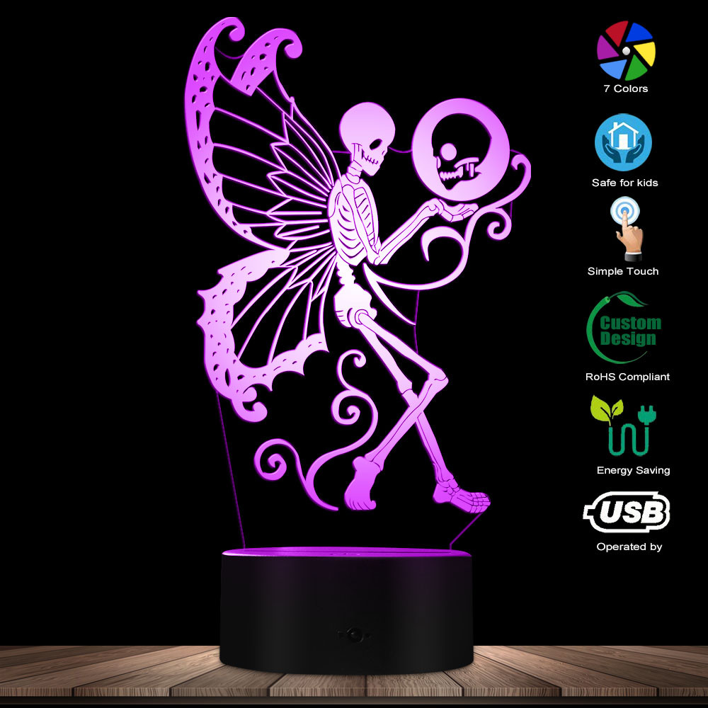 Dead Skull Fairy 3D LED Night Lamp Gothic Skeleton Moth Butterfly Lighting Decor Table Lamp With Color Changing Effect USB Light