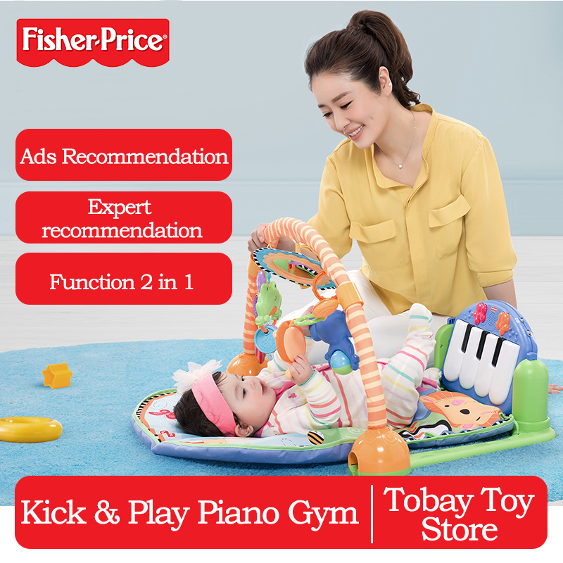 Tapis bébé Fisher Price découvrez 'n Grow Kick and Play Piano Gym 2 en 1 tapis de jeu Animal jouet drôle musique siège de couchage W2621