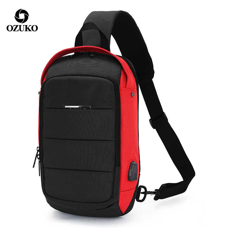 Ozuko Multifungsi Fashion Tahan Air Tas Crossbody Perjalanan Pria Tas Dada Eksternal Antarmuka USB Single Bahu Bag Dada Pack