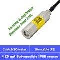 Погружной датчик глубины воды  4 20мА сигнала  2 м глубина  10 м PE кабель  IP68 водонепроницаемый  12 24 В питания  полная нержавеющая сталь 316L