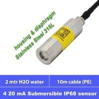 Sensor de profundidade de água submersível  4 20mA sinal  2m de profundidade  10m cabo PE  IP68 à prova d' água  12 24V da fonte  316L completo de aço inoxidável