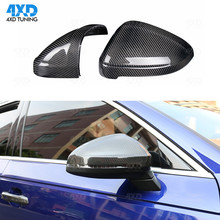 цена на A4 A5 Mirror Cover For Audi RS5 B9 S4 S5 RS4 dry Carbon Fiber Side RearView Mirror Cover Replacement&add on 2016 2017 2018 2019