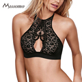 Missomo 2017 New Fashion Women Black Sexy Lace Push Up Semi-sheer Nets Semi-sheer Bralette Halter Underwear Soft Breathable Bras