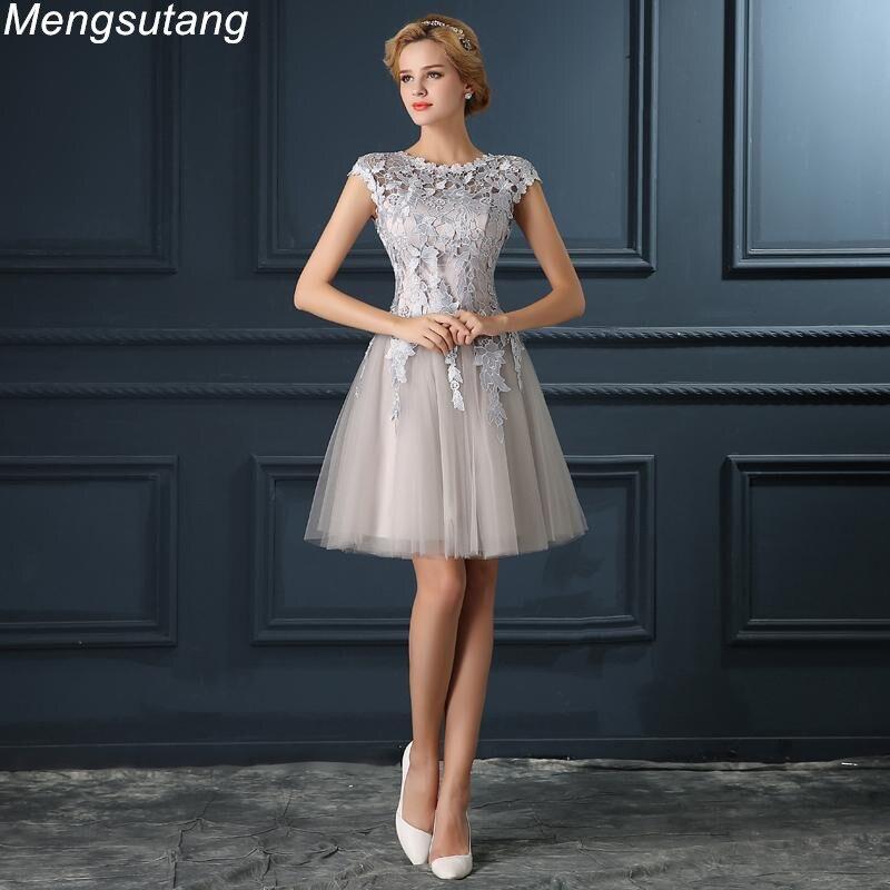 Robe De Soirée 2018 gery u col Dentelle Up de soirée courte robe abendkleider vestito da sérums de bal robes robes de soirée 4 couleurs
