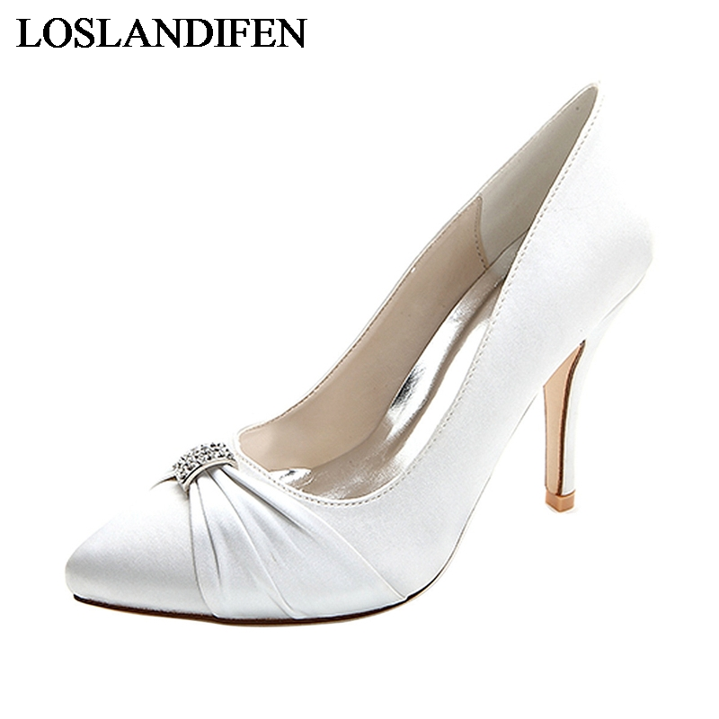 New Fashion Design Pumps Pointed Toe Thin Heel Pearls Rhinestone Silk Prom High Heels Dress Wedding Shoes NLK A0123 in Women 39 s Pumps from Shoes