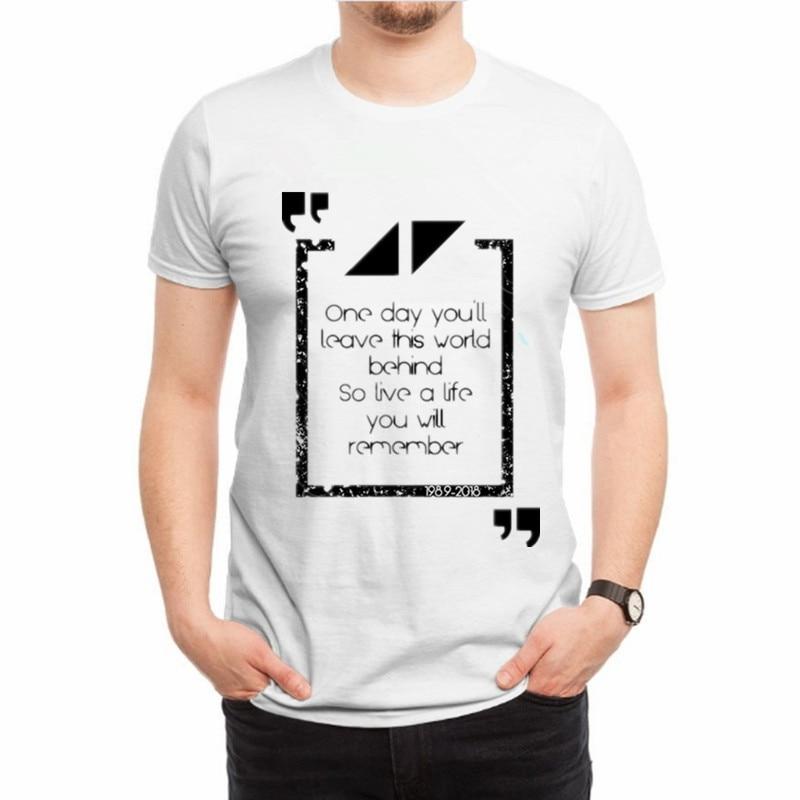 US $11 89  Avicii T Shirt Men 2018 music DJ Avicii fans club Hip Hop Tshirt  Summer hot White T shirt Men O Neck Tee Shirt Homme -in T-Shirts from