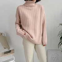 Korean Women Basic Knitted Sweaters Autumn Winter Turtleneck Keep Warm Pullover Sweater Female Casual All match Jumpers