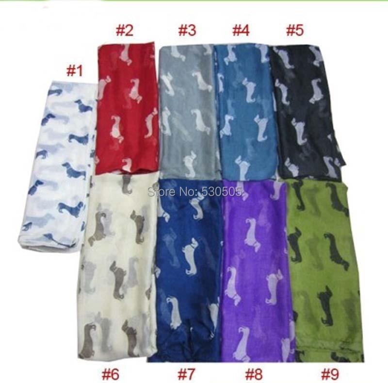 2019 Nový vzor na jaře psí jezevčík šátek zvíře tisk ženy šátek šály zábaly 13 barev velkoobchod 10ks / lot DOPRAVA ZDARMA
