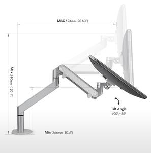Image 2 - Hyvarwey Φ алюминиевый регулируемый держатель монитора 17 32 дюйма настольная подставка с одной ручкой и газовой пружиной