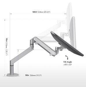 Image 2 - Hyvarwey OZ 1 Aluminum Height Adjustable 17 32 inch Monitor Holder Desk Stand Single Arm Gas Spring Monitor Mount Bracket