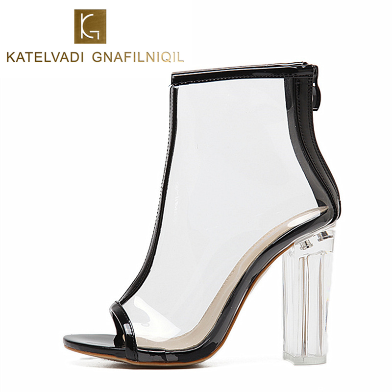 Sexy Women Sandals PVC Transparent 11CM High Heels Gladiator Sandals Clear Chunky Heels Women Shoes Summer Open Toe Heels K-114 crystal high heels shoes platform transparent pvc cross strap women gladiator sandals square toe nightclub party wedding shoes