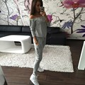 Brand 2016 Autumn Womens Rompers Jumpsuit Casual Solid Bodysuit Half Sleeve Strapless Long Playsuits Plus Size
