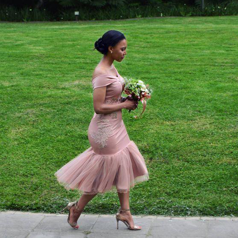 Bridesmaid     Dresses   2018 Blush Pink Country Off Shoulder Wedding Party Guest   Dresses   Slim Arabic Dubai Junior Maid of Honor   Dress