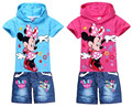 Menoea 2017 Spring new girl Clothing Set Kids clothes cartoon Mouse t-shirt+jeans fashion cartoon clothes Sports suit
