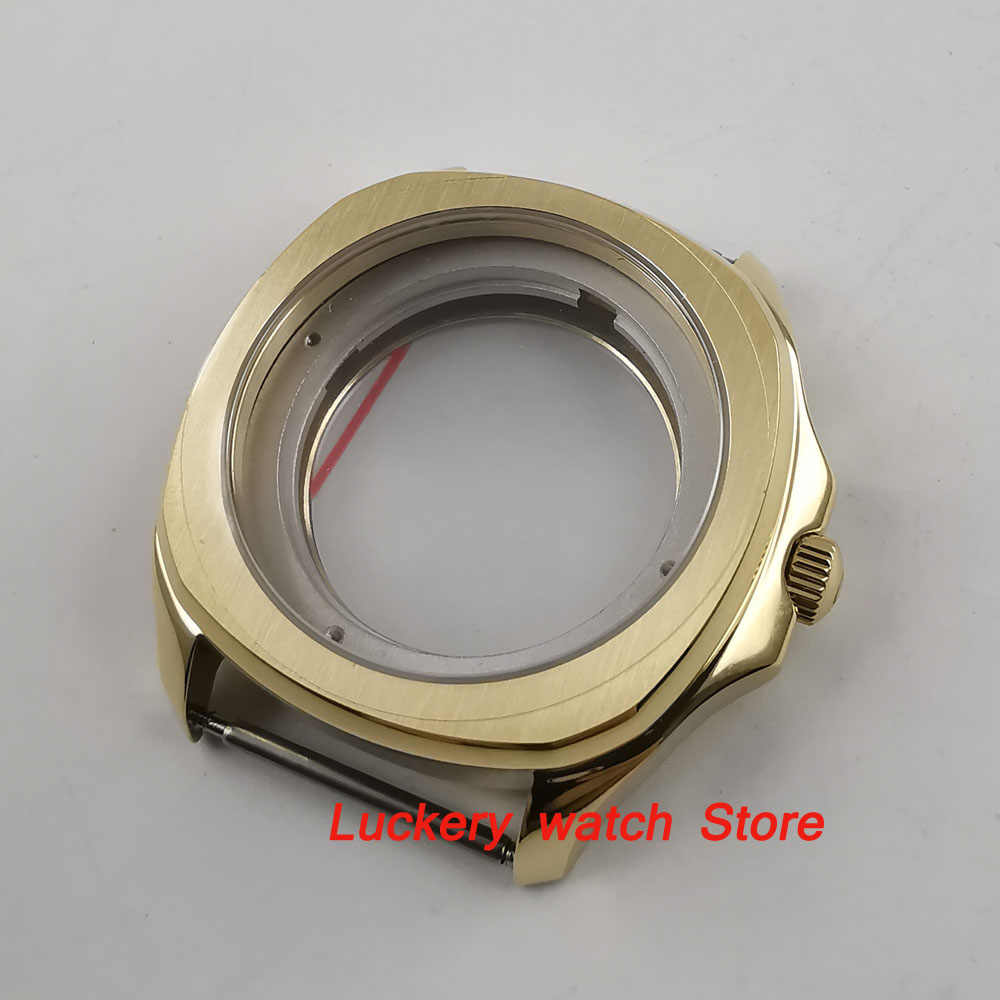 Parnis 40mm gold plated 316L watch case Sapphire crystal Suitable for ETA 2836 miyota 8215 movement-BK29