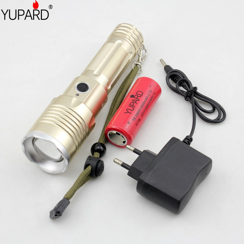 YUPARD XM-L T6 1000Lumens Torch Zoomable Flashlight bright Torch 3xAAA or 1x18650 26650 +rechargeable 26650 battery+charger ultra bright tactical flashlight usb rechargeable 26650 16340 battery xml t6 led torch for camping security emergency use