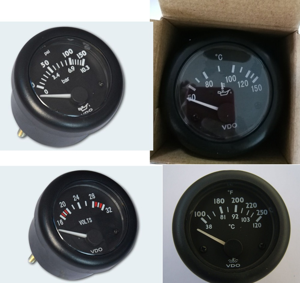 цена VDO Engine Instrument 1pcs Oil meter + 1pcs oil temperature meter + 1pcs voltmeter + 1pcs water temperature meter 4pcs/lot в интернет-магазинах