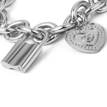 Ingemark Punk Lover's Lock Pendant Bracelets Bangles Fashion Alloy Carved Lover Heart Thick Chain Bracelet Couple Jewelry 2019 4