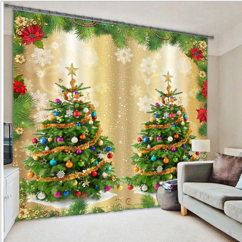 3D Christmas Curtains for Living Room blackout curtains ...