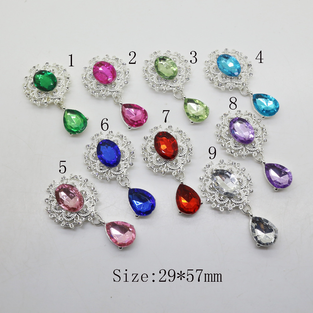 Fashion 10pc/5pc Silver Rhinestone Button Wedding Wine Glass Decoraation Flat Back Clothing Metal Brooch DIY Crafts Accessories