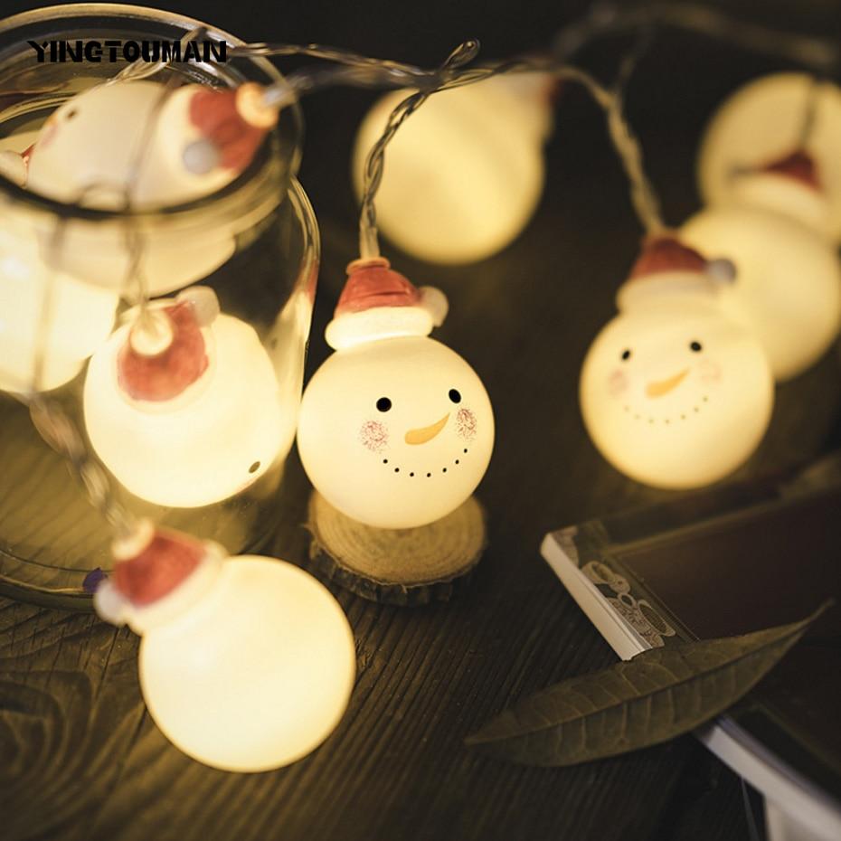 YINGTOUMANT Santa Lamp Battery Powered LED String Light Christmas Holiday Wedding Party Festival Decoration Lighting 2m 10LED