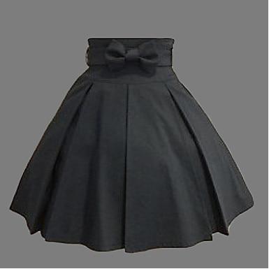 Genou - longueur noir coton Style occidental classique Lolita jupe