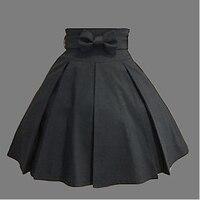 Knee length Black Cotton Western Style Classic Lolita Skirt
